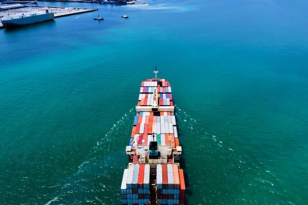 Entrega de serviços a empresas contentor marítimo internacional mar aberto