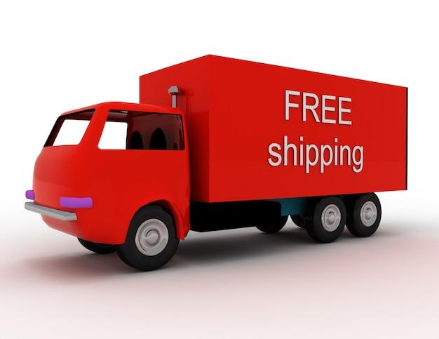 Entrega gratuita de mercadorias em qualquer lugar. ilustração renderizada 3d