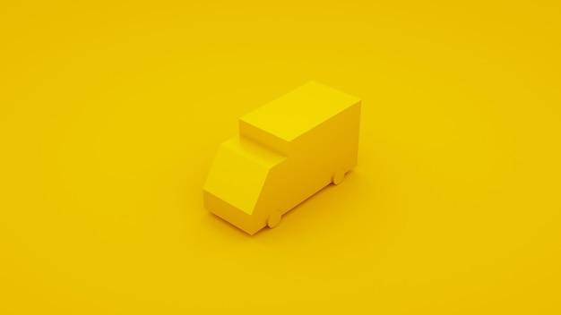 Entrega, ilustração 3d isométrica do caminhão amarelo.