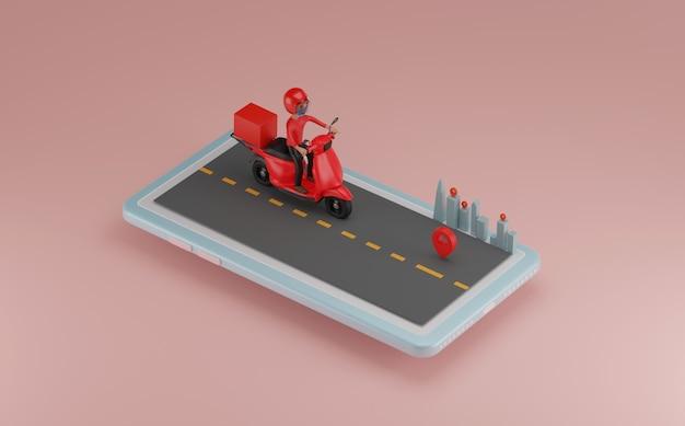 Entrega por scooter no celular. renderização 3d.