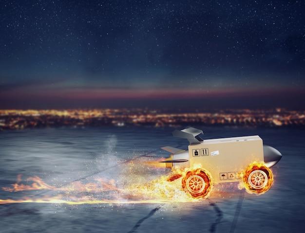 Entrega super rápida da caixa do pacote como um foguete com rodas em chamas