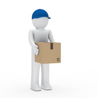 Entregador com tampa segurando uma caixa de papelão