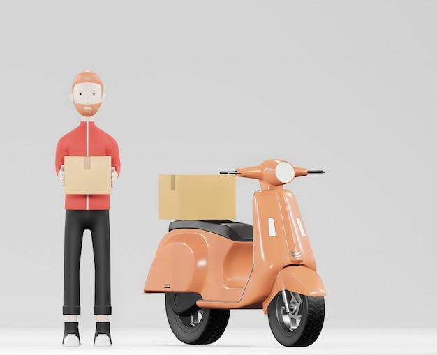 Entregador de desenhos animados de uniforme vermelho com moto