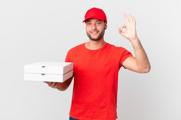 Entregador de pizza feliz, mostrando aprovação com gesto de aprovação