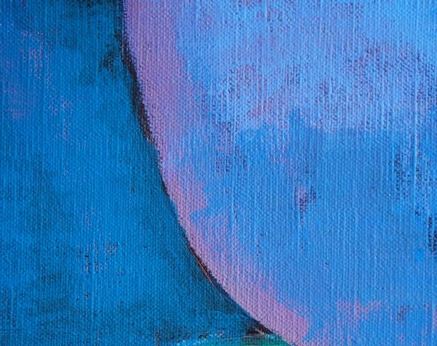 Entregue a tração a pintura a óleo o fundo azul do sumário da cor e a textura.