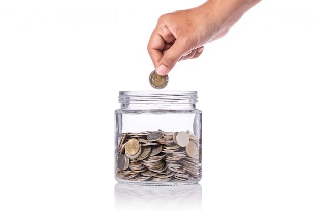 Entregue guardar a moeda tailandesa (baht) e introduza-a para cancelar o frasco de vidro.