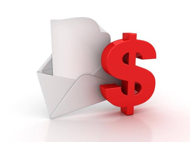 Envelope 3d com cifrão