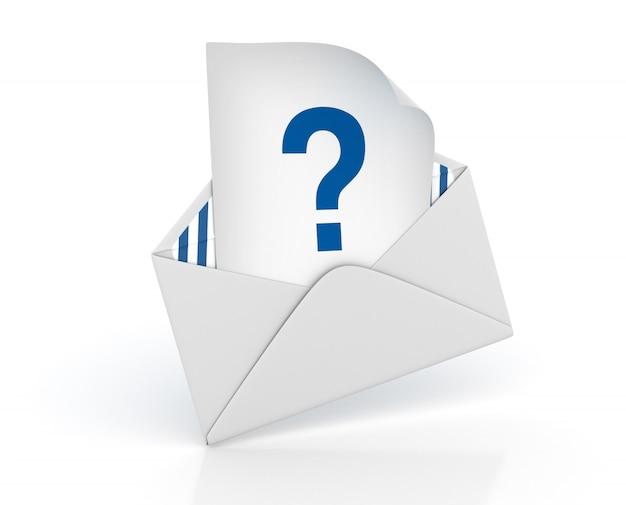 Envelope 3d com ponto de interrogação
