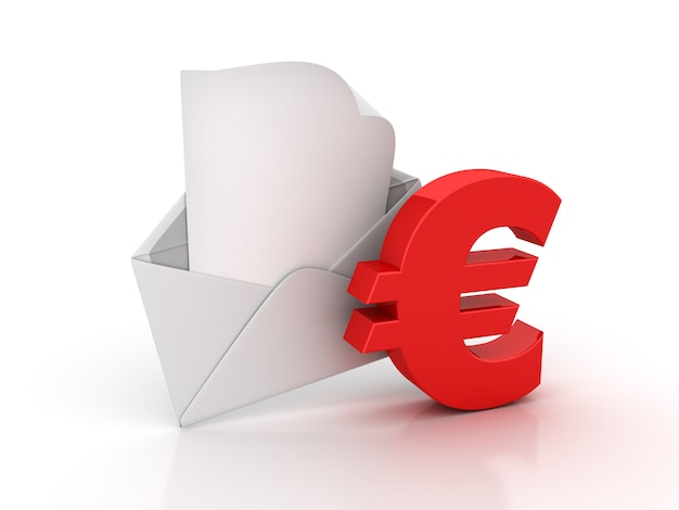 Envelope 3d com sinal euro
