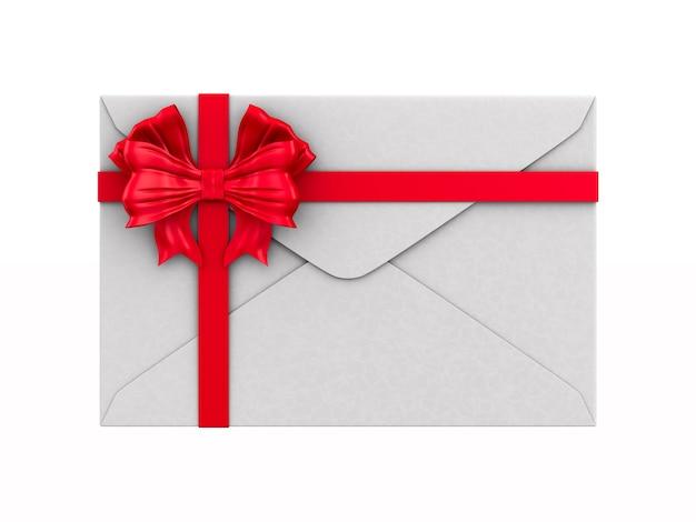 Envelope com laço em fundo branco. ilustração 3d isolada