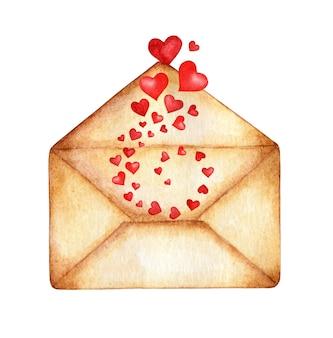 Envelope em aquarela de onde os corações voam em um redemoinho.