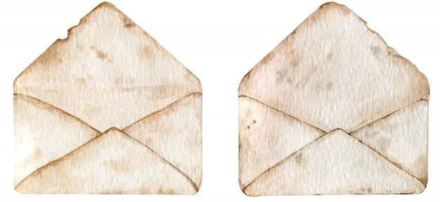 Envelopes antigos vintage. ilustração em aquarela de dois envelopes abertos marrons.