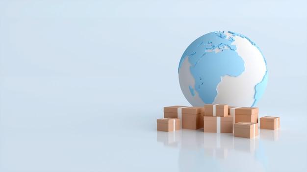 Envio internacional e entrega de mercadorias, ilustração 3d