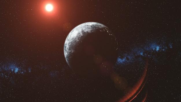 Epic earth orbit observação red sun beam glow solar system