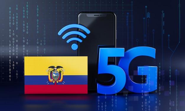 Equador pronto para o conceito de conexão 5g. fundo de tecnologia de smartphone de renderização 3d