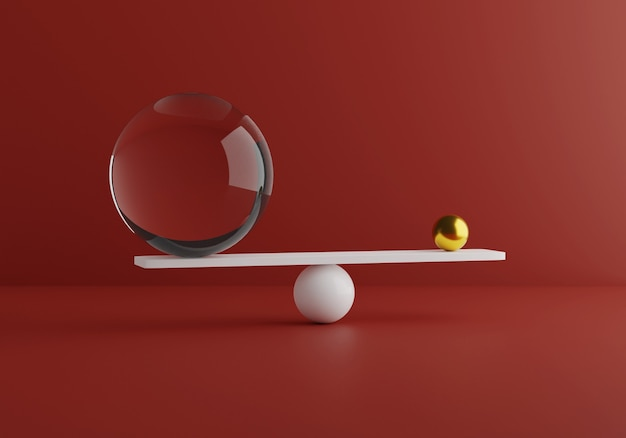 Equilibrando formas mínimas, ouro e materiais de vidro. comparação de peso. renderização 3d. ilustração 3d de alta qualidade