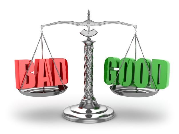 Equilibre o bom ou o mau. escalas em fundo branco isolado. 3d
