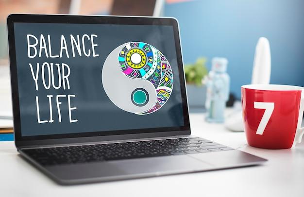 Equilibre seu conceito de estabilidade de vida, trabalho e vida