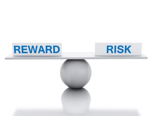 Equilíbrio da balança 3d entre recompensa e risco
