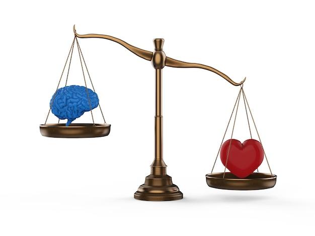 Equilíbrio lógico e emocional com cérebro e coração em escala de equilíbrio