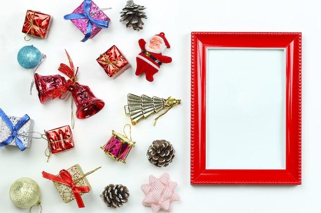 Equipamento da decoração do natal e frame da foto.