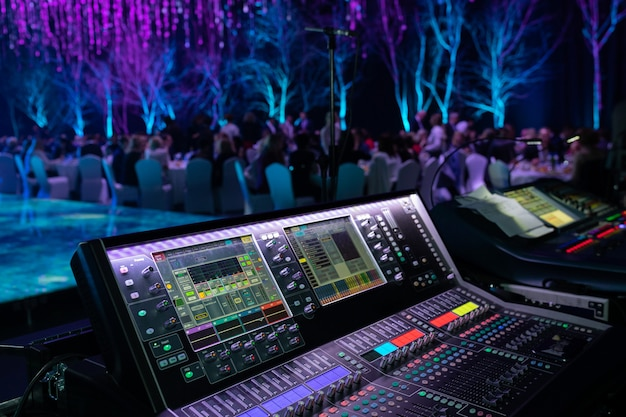 Equipamento de close-up na discoteca no clube