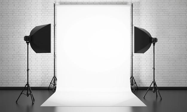 Equipamento de estúdio fotográfico em uma parede de tijolos
