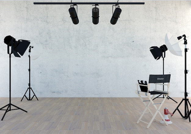 Equipamento de estúdio na sala de estúdio com espaço vazio, renderização em 3d