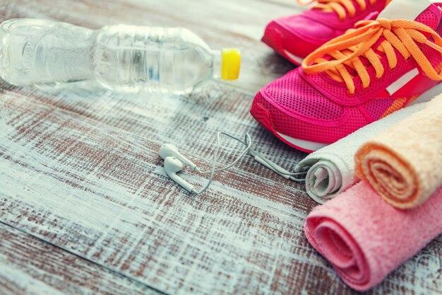 Equipamento de fitness e nutrição saudável
