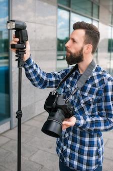 Equipamento de fotografia câmera fotográfica criativa