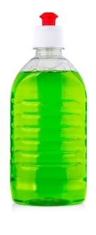 Equipamento de limpeza isolado em um fundo branco. garrafas de plástico coloridas com detergente isolado no fundo branco.