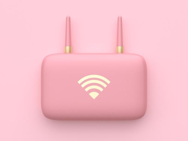 Equipamento de tecnologia abstrata mínima rosa wifi roteador renderização em 3d
