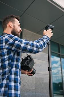 Equipamento fotográfico câmera backstage fotógrafo