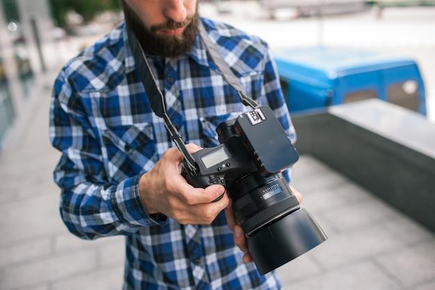 Equipamento fotográfico câmera fotográfica backstage fotógrafo