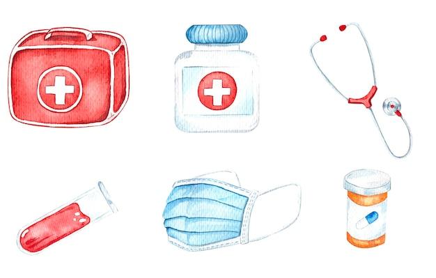Equipamento médico, ilustrações em aquarela com kit de primeiros socorros, pulso, máscara médica, estetoscópio, comprimidos.