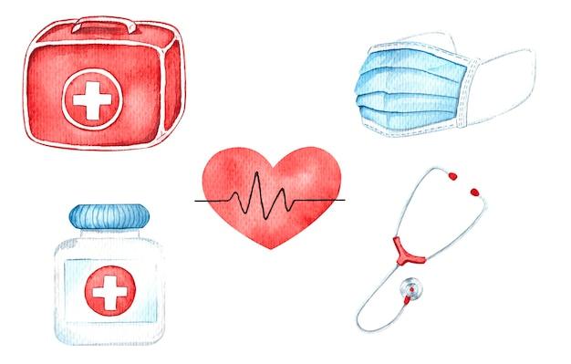 Equipamento médico, ilustrações em aquarela, kit de primeiros socorros, pulso, máscara médica, estetoscópio, comprimidos.