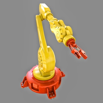 Equipamento robótico de braço amarelo para tarefas complexas de renderização em 3d