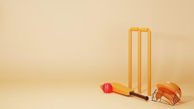 Equipamentos de críquete 3d como taco, bola, tocos de wicket e capacete em fundo amarelo pastel com espaço de cópia.
