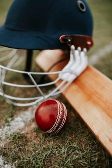 Equipamentos de críquete na grama verde