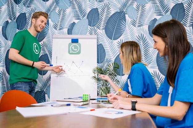 Equipe bem sucedida, discutindo no gráfico de mídia social no escritório