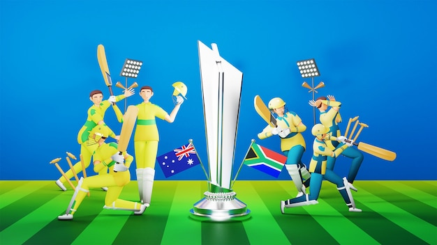 Equipe de críquete participante da austrália x áfrica do sul com prêmio de troféu de prata e equipamento de torneio em estilo 3d.
