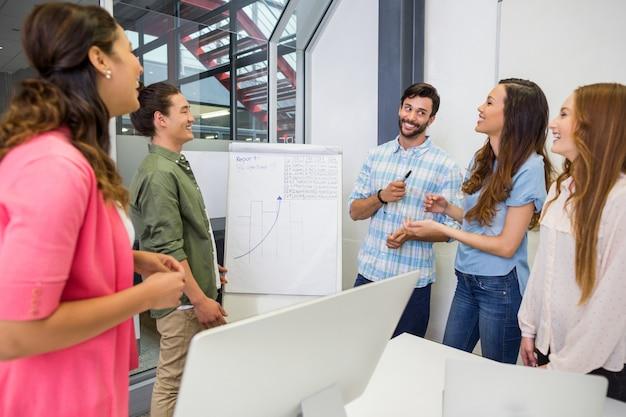 Equipe de executivos discutindo sobre flip chart