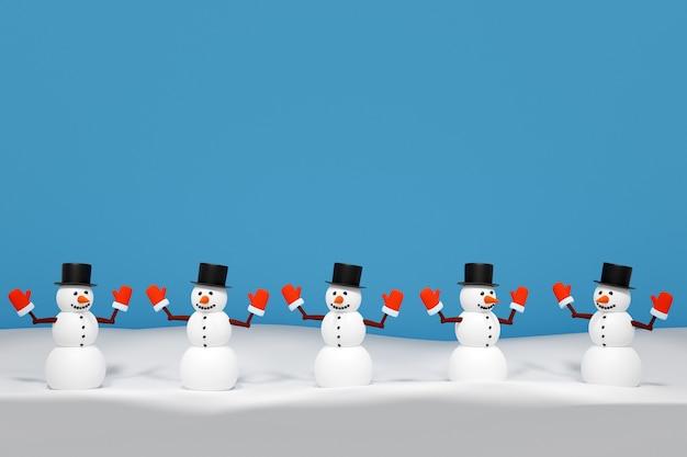 Equipe de ilustração 3d de bonecos de neve de feliz natal