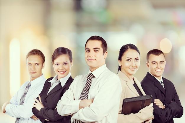Equipe de negócios bem-sucedida em segundo plano