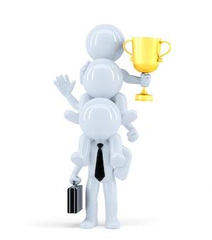 Equipe de negócios ganhando uma competição. isolado. contém o traçado de recorte