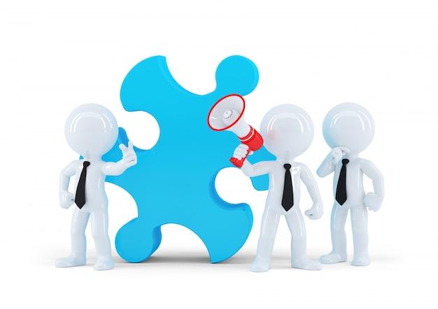 Equipe de pessoas de negócios e peça de um quebra-cabeça