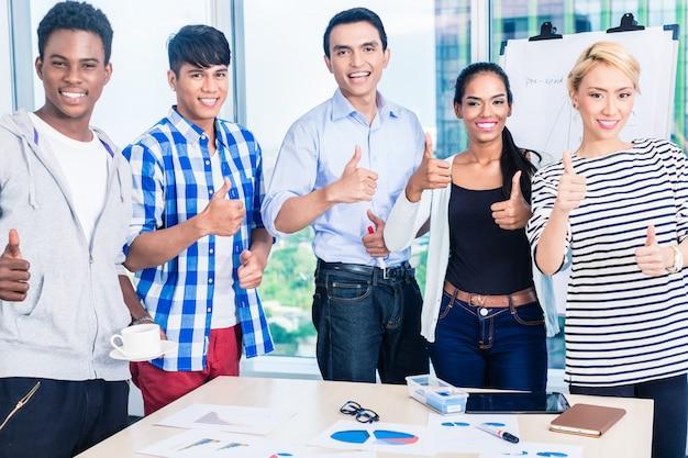 Equipe de sucesso na reunião inicial