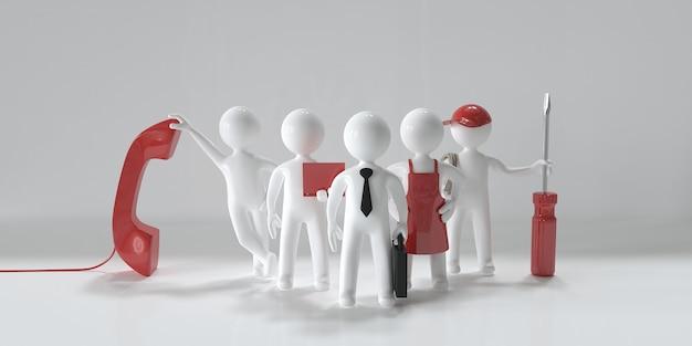 Equipe de suporte técnico trabalhadores de várias profissões pessoas em miniatura