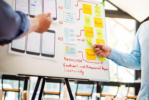 Equipe de ux designer de experiência em desenvolvimento móvel app.