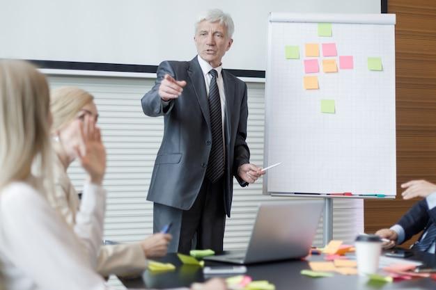Equipe em reunião de negócios no escritório, planejamento criativo com notas adesivas